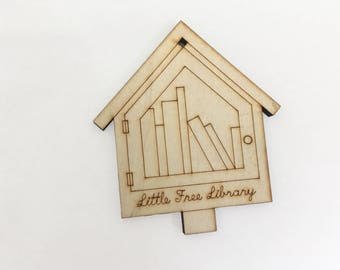 Library Ornament - Little Book Exchange Holiday Decor Laser Cut