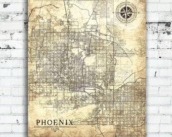PHOENIX AZ Canvas Print Arizona Az Vintage map Vintage map City Phoenix Az Large Wall Art Print poster Vintage old map gift city map poster