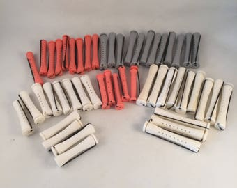 Perm Hair Curlers 50 Total 5 Sizes with Elastic Pulls, Retro Perm Curlers, Hair Perm Products