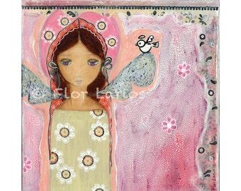 Engel mit Little Bird - Reproduktion aus Gemälde von FLOR LARIOS (7 x 7 Zoll drucken)