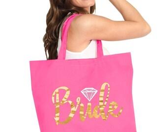 Gold Foil Diamond Bride Pink Bag: Bridal Tote, Large Bride's Tote, Bridal Shower Gift, Bachelorette Party, Engagement Gift, Wedding Carryall