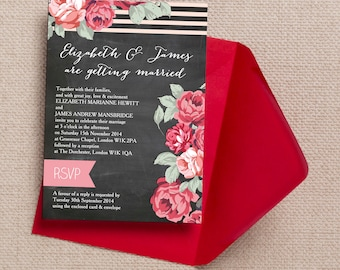 Personalised Chalkboard with Red and Pink Flowers Wedding Invitation & RSVP with envelopes