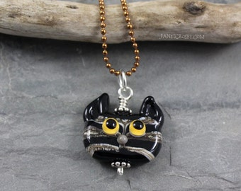 Chubby Tabby Cat Face - Lampwork Glass Kitty Face - Ball Chain Necklace
