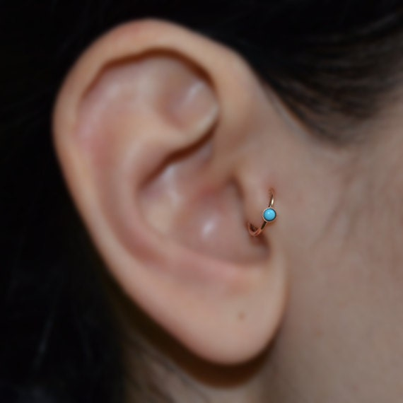 Turquoise Tragus Earring Gold Nose Ring Rook Earring