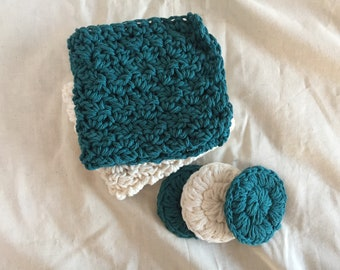 spa set-crochet spa set-wash cloth face scrubbie set-reusable face scrubbie-crochet wash cloth-washcloth-reusable face scrubbies