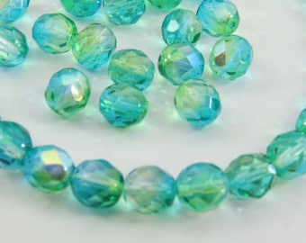 Czech 8mm Green AB Faceted Fire Polished Round Translucent Glass Aqua Blue Yellow Mix Vitral 15 Beads FP8MM015