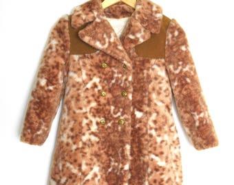 Vintage 60s 70s Little Girls Faux Cheetah Fur Pea Coat (size 7, 8)