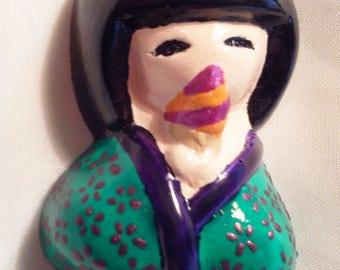 Summer green kokeshi - 9 034 doll