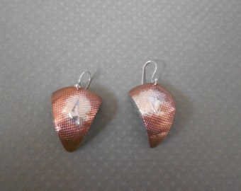 Mixed metal copper/sterling silver triangle dangle earrings