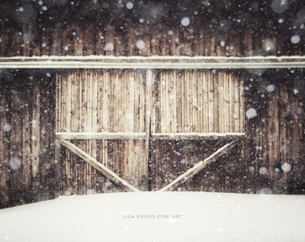 Brown Barn in Snow Large Print or Canvas, Farmhouse Decor, Rustic Landscape, Barn Door Picture, Brown Decor, Rustic Brown Print, Barn.