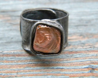 Copper Pearl  ring - soldered statement ring - copper ring -  OOAK