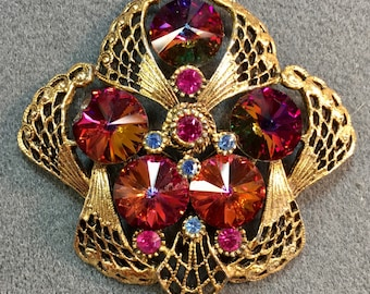 Big Fancy Vintage Brooch with Vibrant Orange and Pink Rivoli Stones-As Is.  Free shipping .