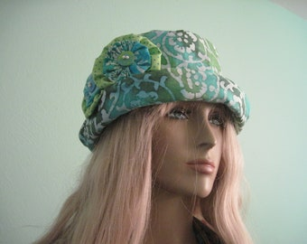 Bucket Hat Cloche Hat Green Blue Boho Print  Summer Hat Pool Hat Beach Hat