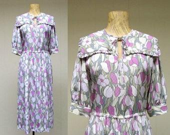 Vintage 1980s Dress / 80s Lilac Tulip Print Secretary Dress / Medium