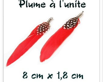 Red Black White l ' single feather pendant