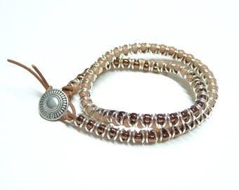 Serpentine Bracelet, Serpentine Double Wrap Bracelet, Bronze and Rose Pink Wrap Bracelet, Boho Wrap Bracelet, Teens, Girls, Boys, Women, Men