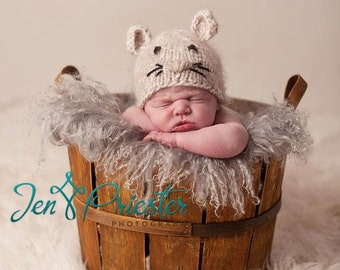 Baby Hat, Newborn Baby Hat, Mouse Hat, Newborn Photo Prop, Photography props, Newborn Hat, Newborn Baby Hat, Knit Newborn hat, Knit baby Hat