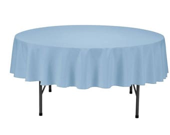 Baby Blue Round Wedding Linentablecloth 70 Inch Round Banquet Polyester,  Wrinkle Resistant Quality Tablecloth For