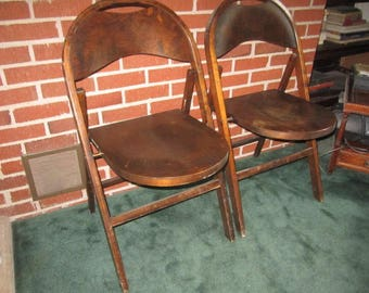 Vintage 1940s Sturdy PAIR of Matching Wood Folding Chairs