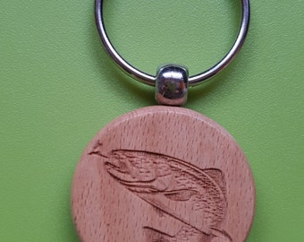 Keychain wooden o40mm reason: TROUT