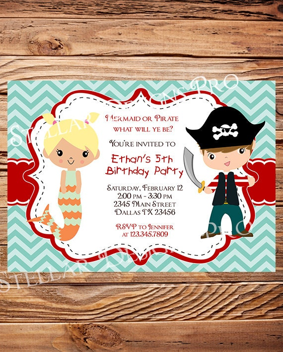 Mermaid birthday party invitation pirate birthday invitation like this item filmwisefo Image collections