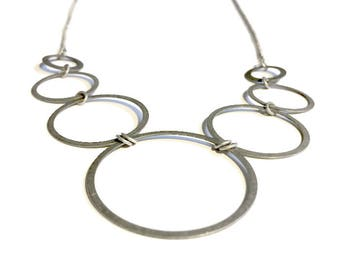 Antique Silver 7 Circles Necklace
