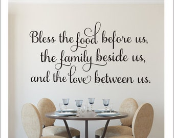 Bless The Food Decal Before Us Wall Kitchen Dining Room Vinyl