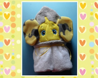 Hooded towel with Elephant peeker.
