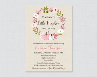 Pink Pumpkin Baby Shower Invitation Printable or Printed - Little Pumpkin Baby Shower Invites, Pink Fall Baby Shower Invite Girl - 0032-P