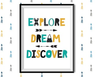 Explore Dream Discover Nursery Art - Adventure Art for Kid's Room - Printable Travel Quote