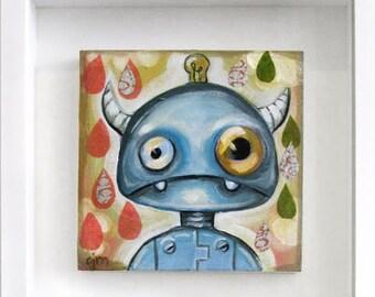 Little Robot Original Painting by Artist CJ Metzger
