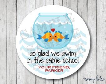Goldfish Valentine Stickers or Tags . Fishbowl Valentine Stickers Swim in Same School