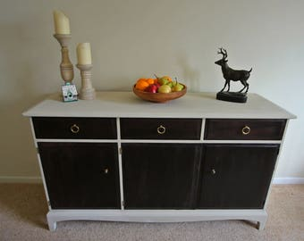 Sideboard Chiffonier Stag Minstrel Furniture Cupboard Storage Cream and Mahogany with Wood Effect Lining