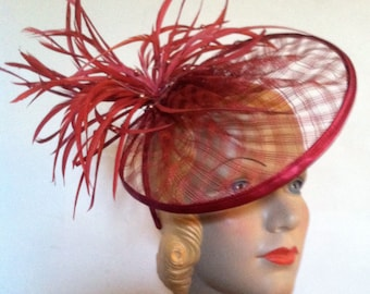 hot red coque feather burlesque mesh hat headband vintage