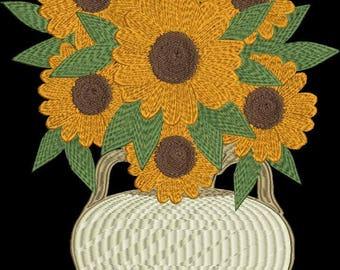 Flower machine embroidery design