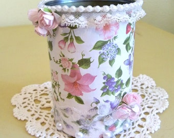 Shabby Chic Decorated Tin Can