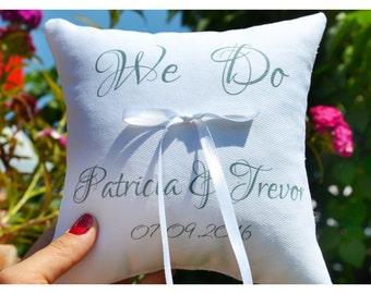 Ring pillow, Ring bearer pillow, We Do Ring bearer pillow, Wedding ring pillow , wedding pillow ,personalized ring pillow, ring holder (R24)