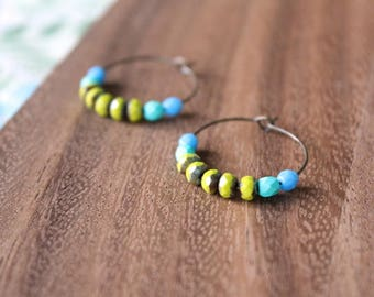lime, teal, blue czech glass hoop earrings