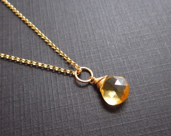 L - Genuine Citrine Jewelry - 14k Gold Charms - Natural Citrine Pendant - Wire Wrapped Gemstone Jewelry - Interchangeable Jewelry