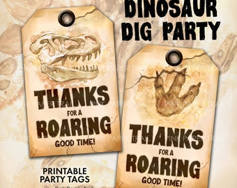 Dinosaur Dig Excavation Party Favor Printable Tag, Dinosaur Excavation Party Tags, Instant Download Print Your Own