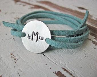 custom wrap bracelet - hand stamped sterling silver