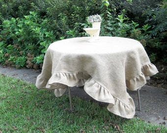 "Custom Burlap Tablecloth Ruffled Tablecloth Burlap Table Cloth 70"" Wedding Decorations Table Decor French Country Farmhouse Round Burlap"
