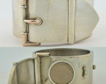 Victorian Hidden Locket - Buckle Bracelet Sterling Silver