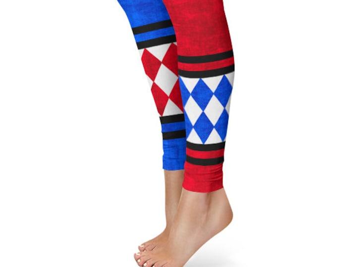 Harlequin Leggings, Red and Blue Joker Jester Tights, Harley Quinn Cosplay Costume Pants