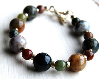 Handmade Jasper Stone Bracelet with Sterling Silver Toggle and Beads