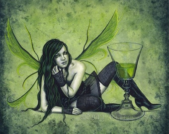 Absinthe PRINT Green Fairy Gothic Fantasy Art Fae Faery Wings Watercolor 3 SIZES