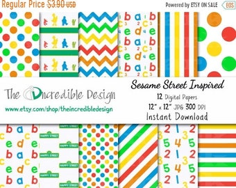 ON SALE Sesame Street Inspired digital paper pack for scrapbooking, Making Cards, Tags and Invitations, Instant Download