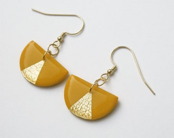 Mustard Yellow Earrings, Semicircle Triangle Earrings, Gold Filled Dangle Earrings, Retro Modern Jewelry, Gold Geometric Earrings