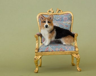 Dollhouse Miniature Sitting Corgi Artist Sculpted Furred OOAK Dog 1:12 Scale