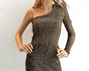 One shoulder shiny mini dress - #95004